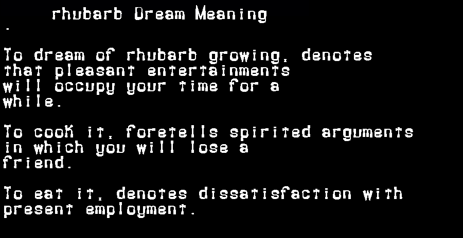 dream meanings rhubarb