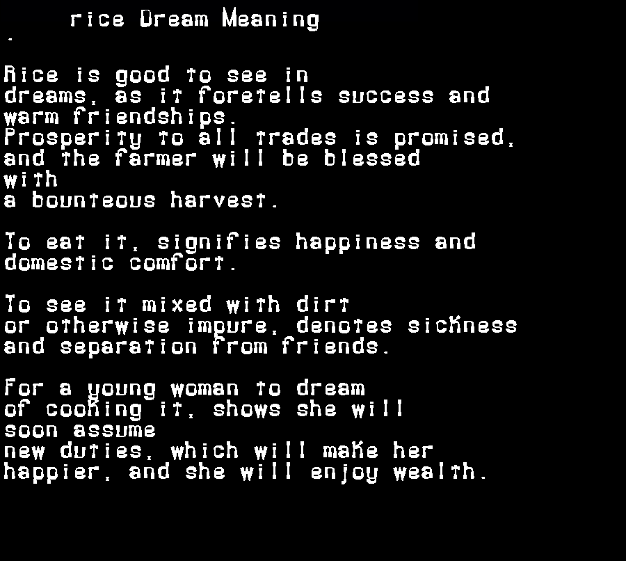 dream meanings rice