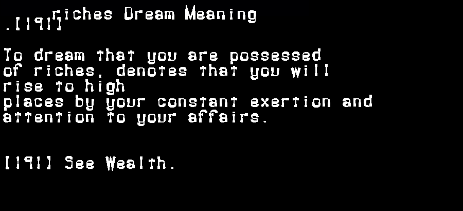 dream meanings riches
