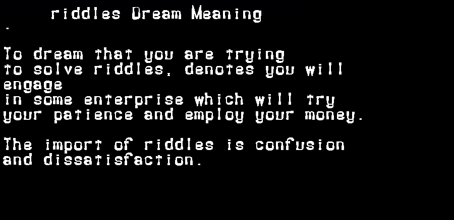 dream meanings riddles