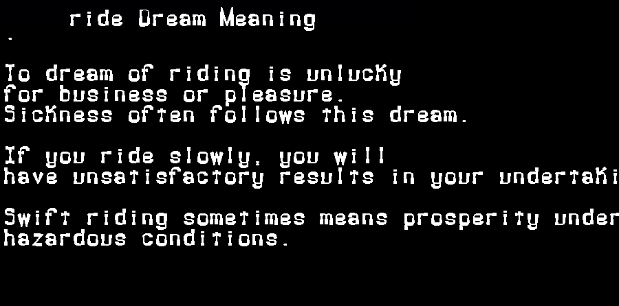 dream meanings ride