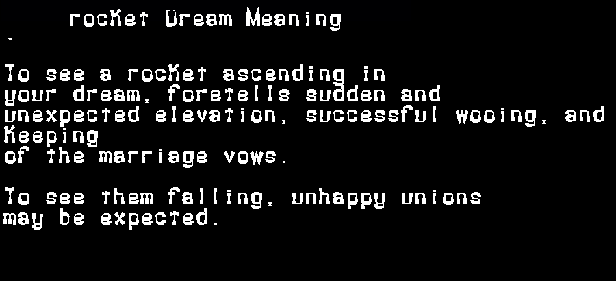 dream meanings rocket
