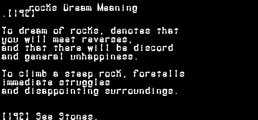 dream meanings rocks