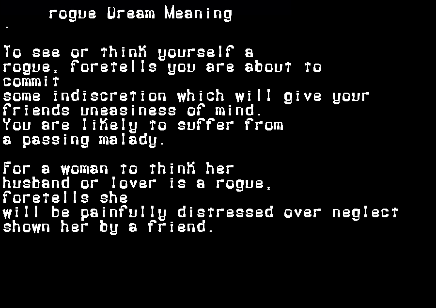 dream meanings rogue