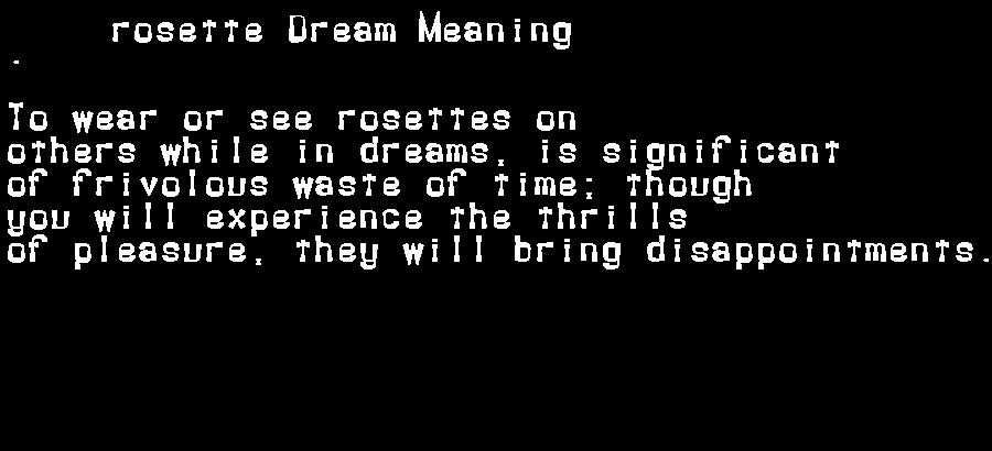 dream meanings rosette