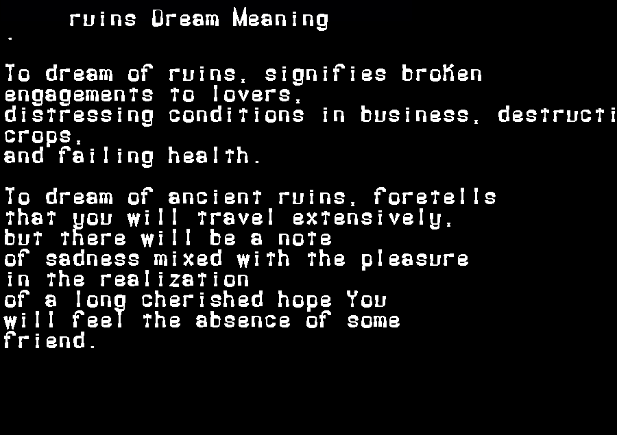 dream meanings ruins