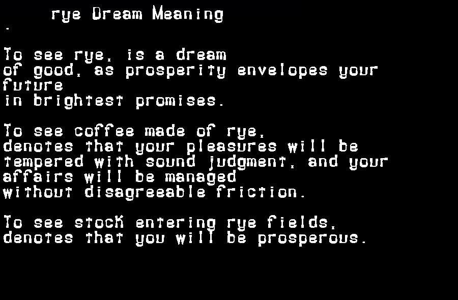 dream meanings rye