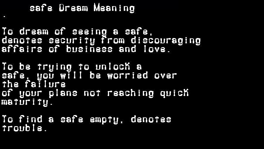 dream meanings safe