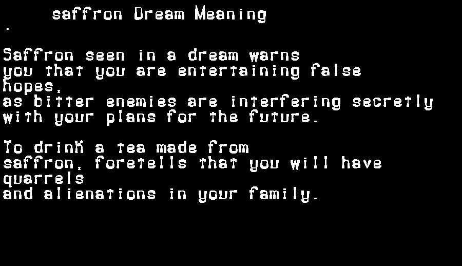 dream meanings saffron