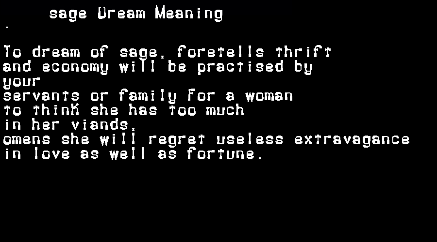 dream meanings sage