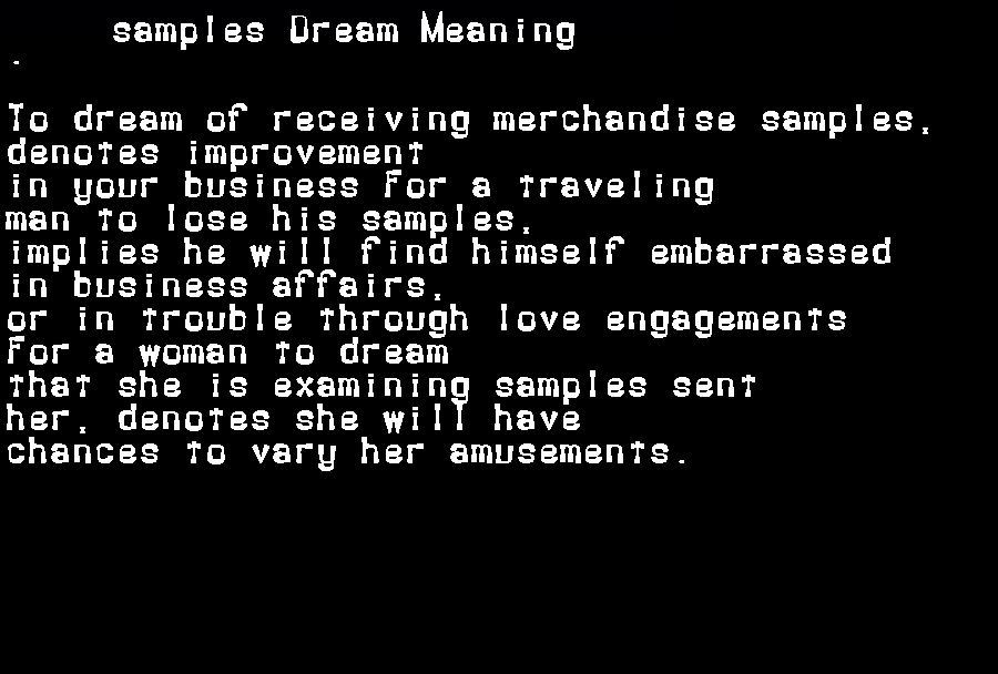 dream meanings samples