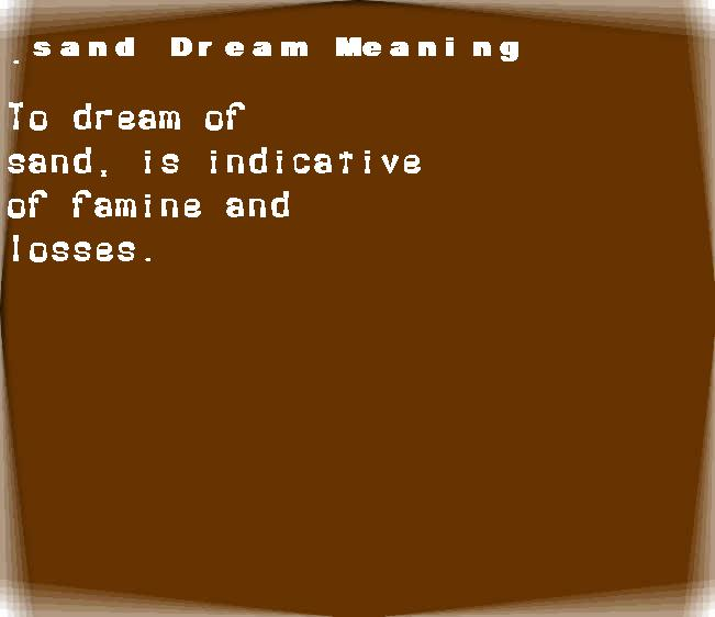 dream meanings sand