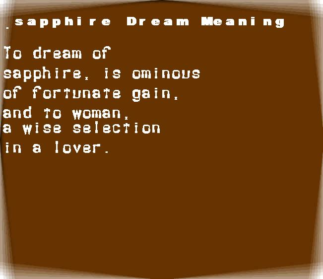 dream meanings sapphire