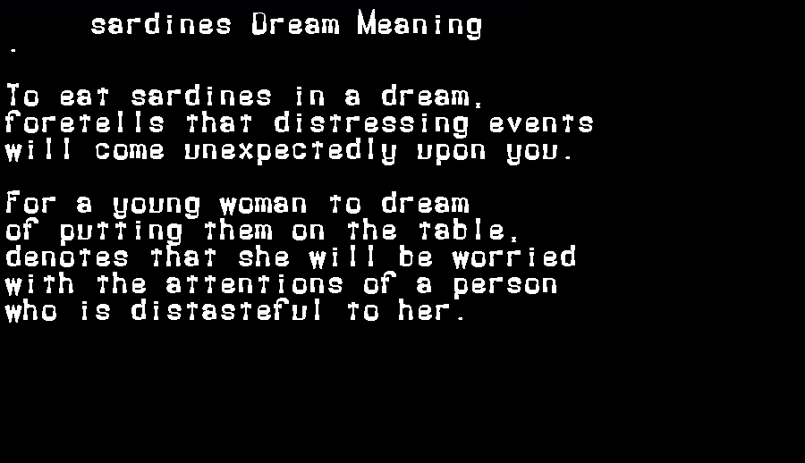 dream meanings sardines
