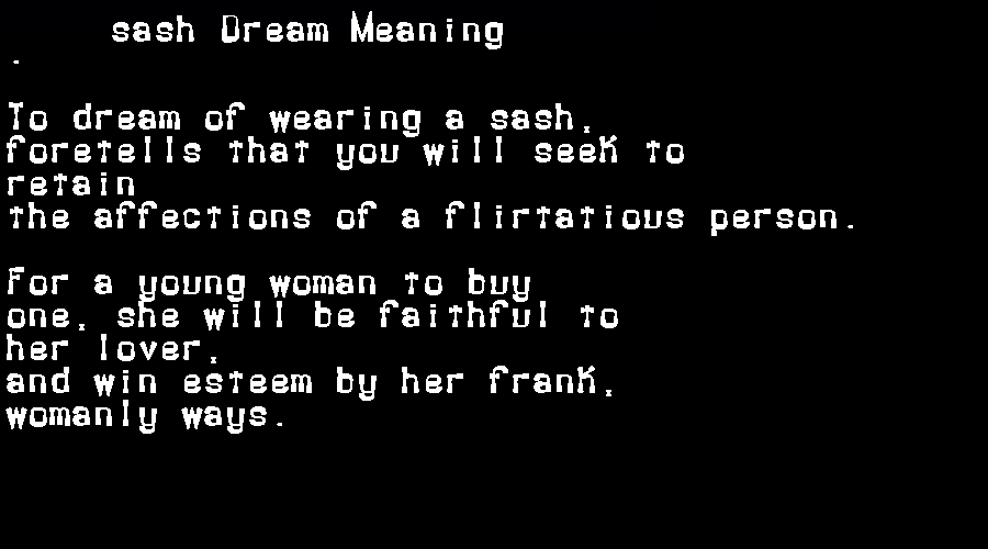 dream meanings sash