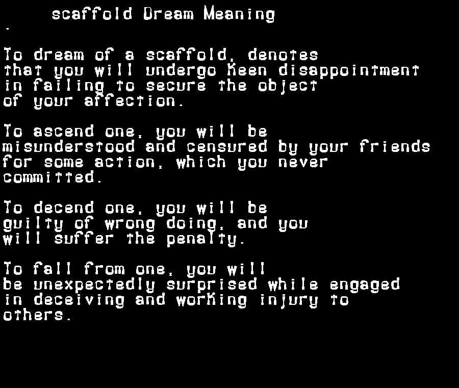 dream meanings scaffold
