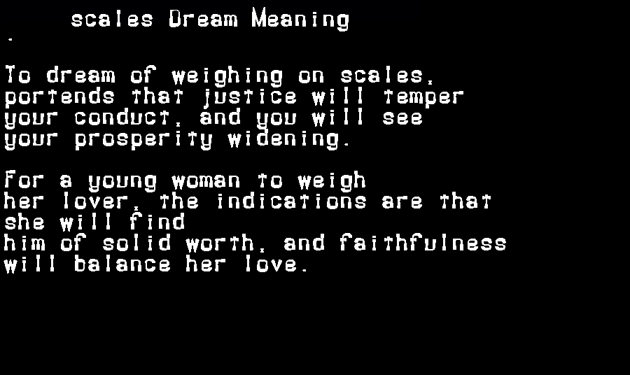 dream meanings scales