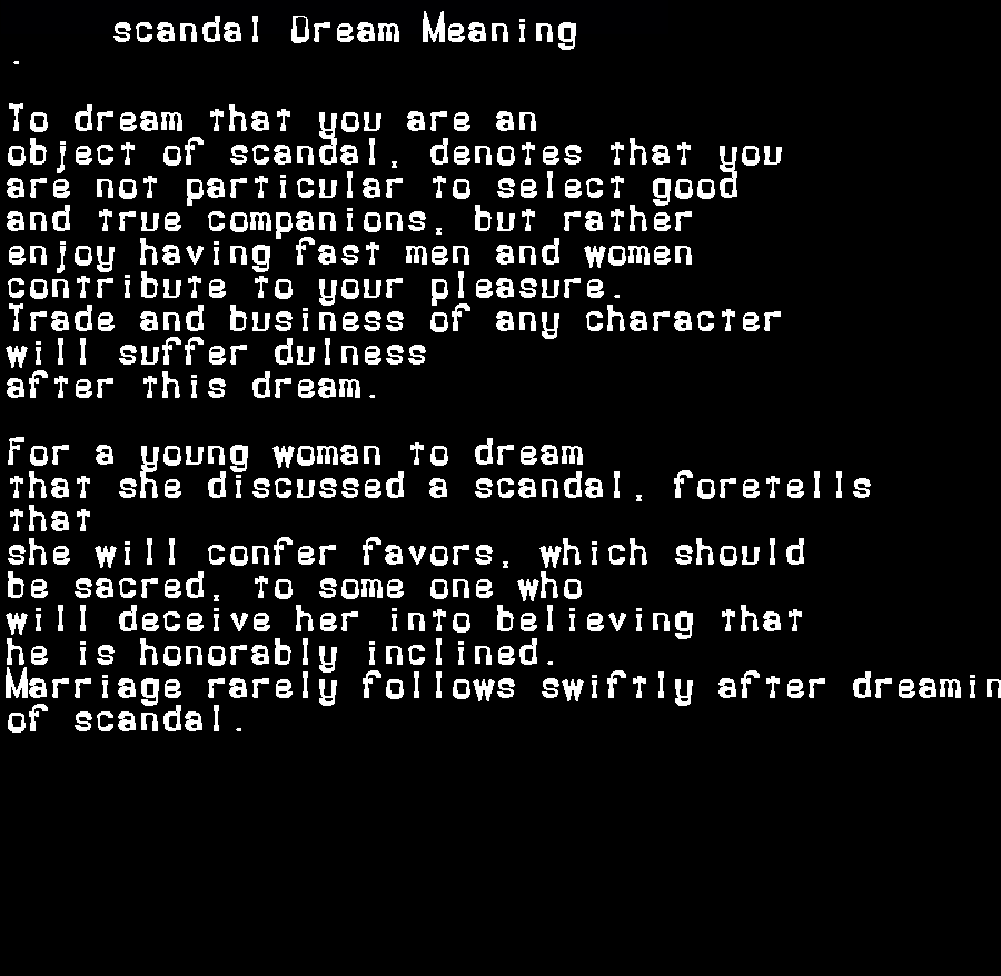 dream meanings scandal