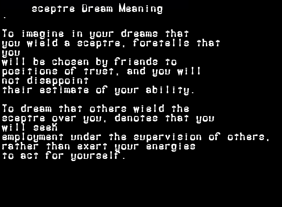 dream meanings sceptre
