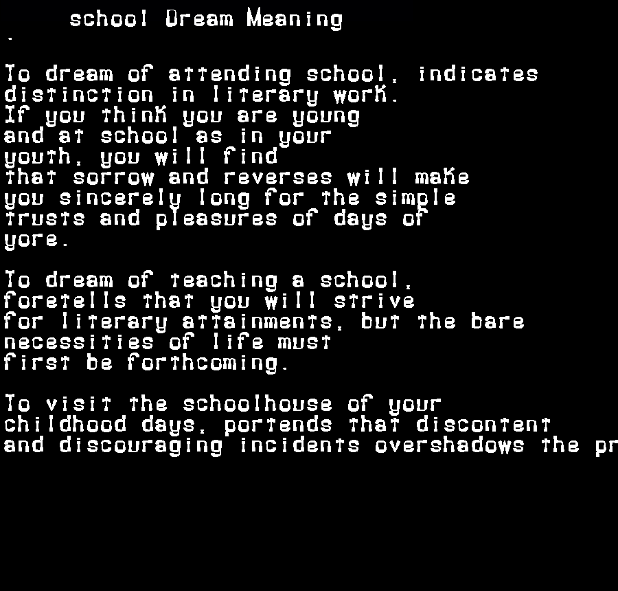 dream meanings school