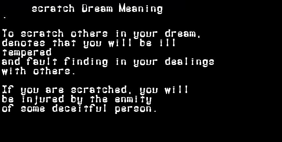 dream meanings scratch