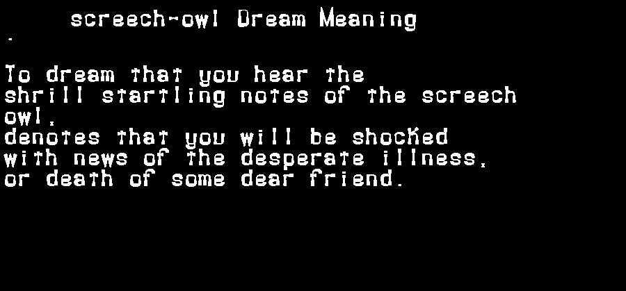 dream meanings screech-owl