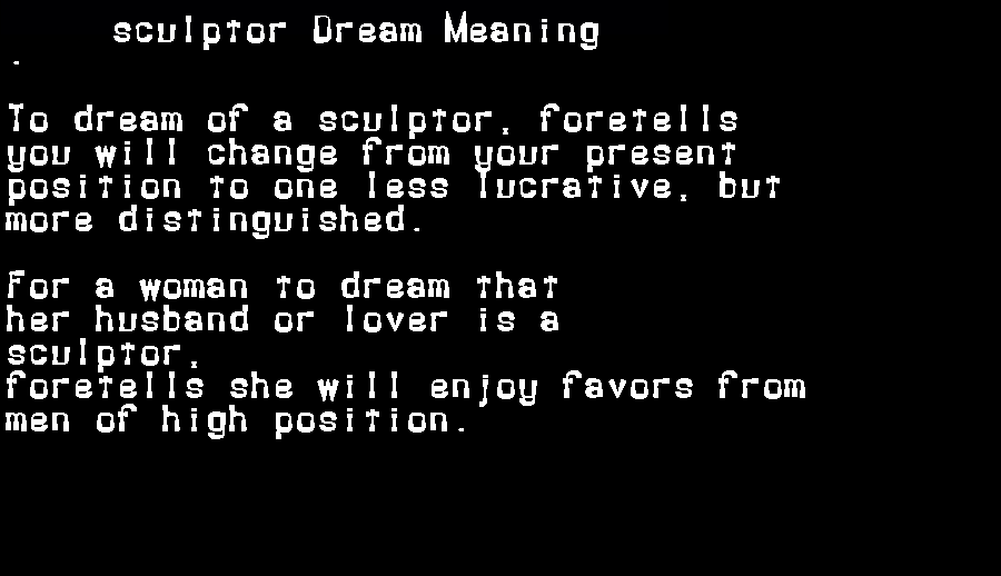 dream meanings sculptor