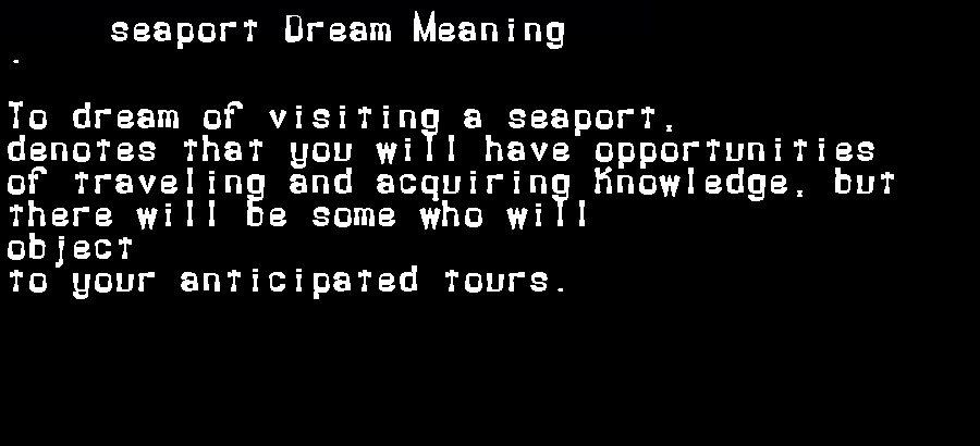 dream meanings seaport