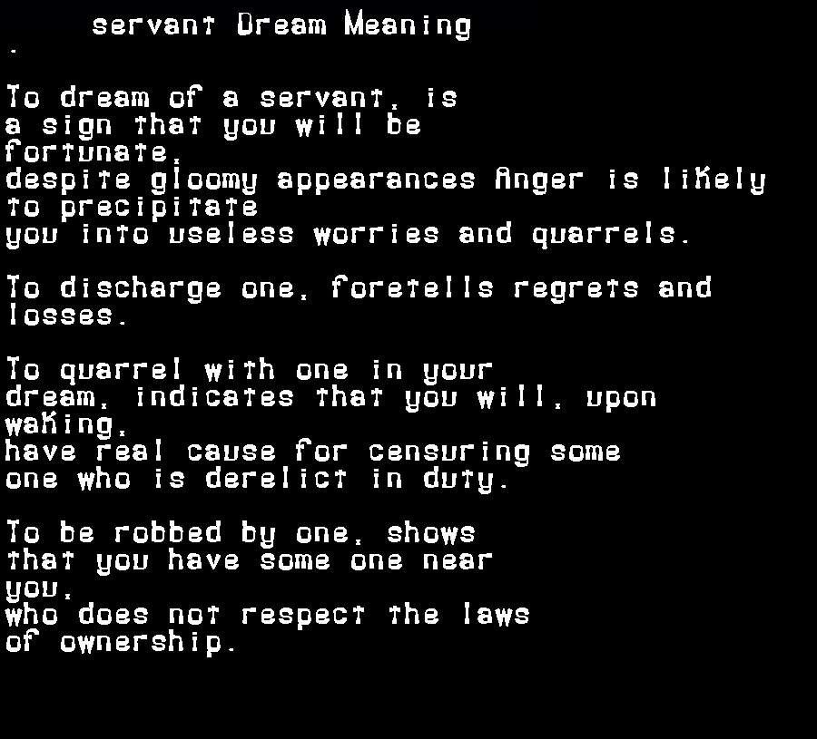 dream meanings servant