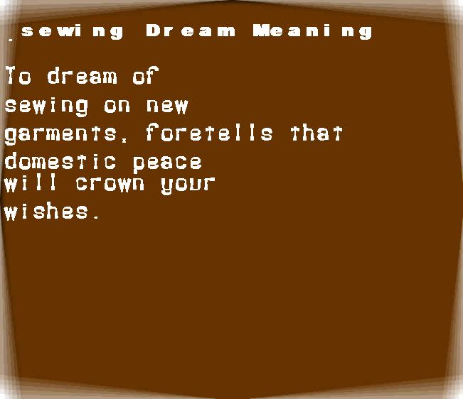 dream meanings sewing
