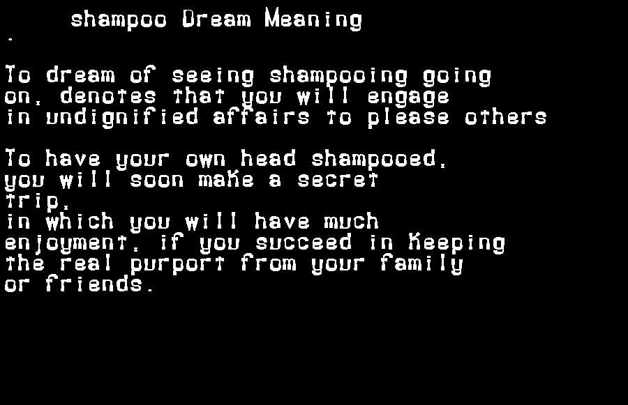 dream meanings shampoo
