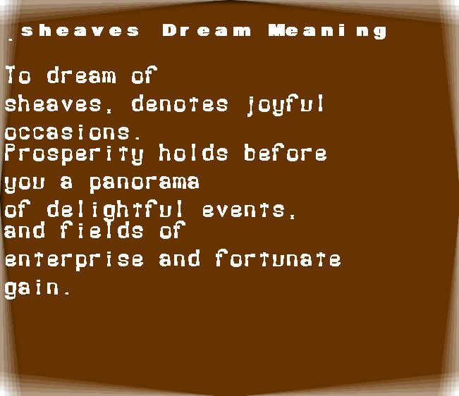 dream meanings sheaves