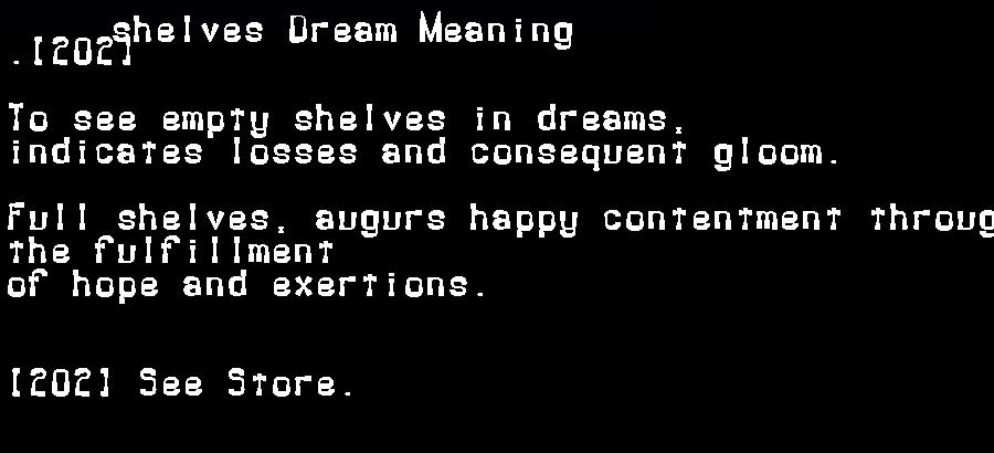 dream meanings shelves
