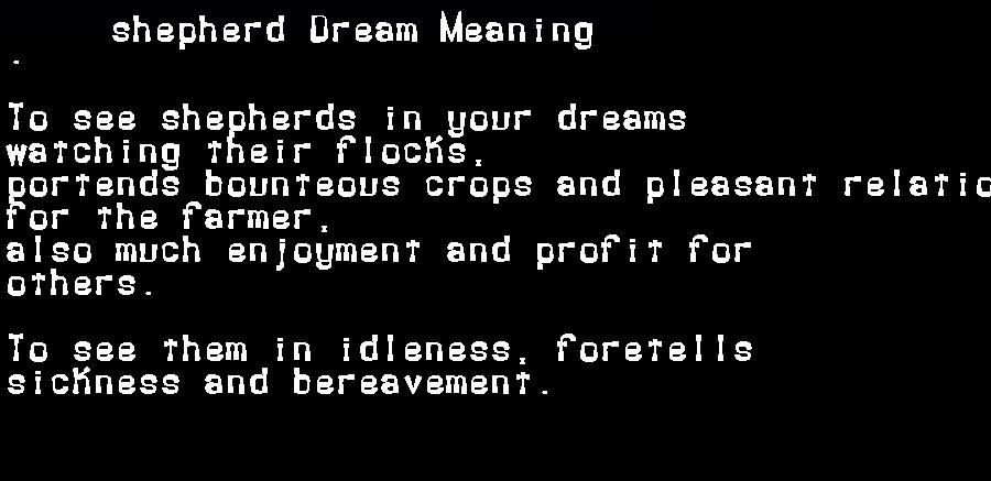 dream meanings shepherd