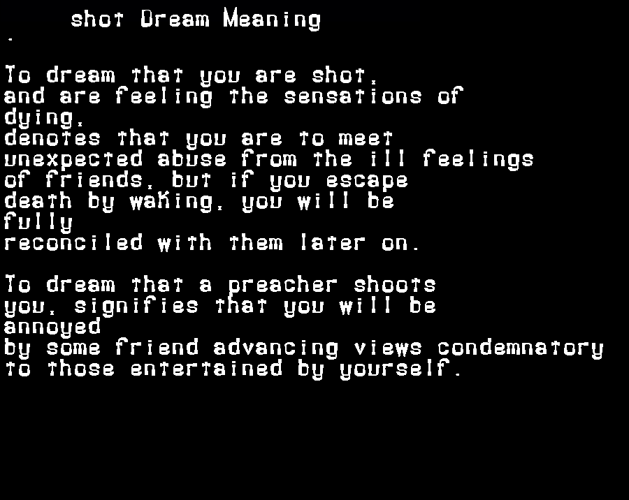 dream meanings shot