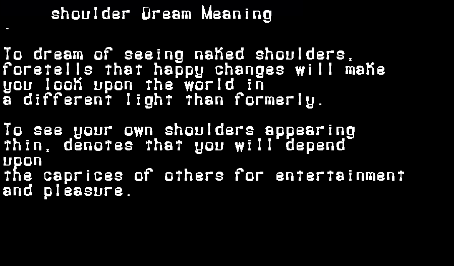 dream meanings shoulder