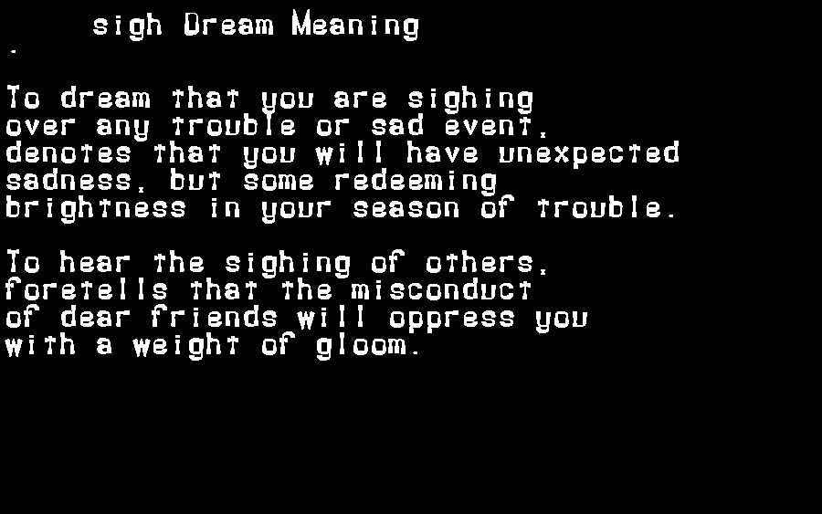 dream meanings sigh