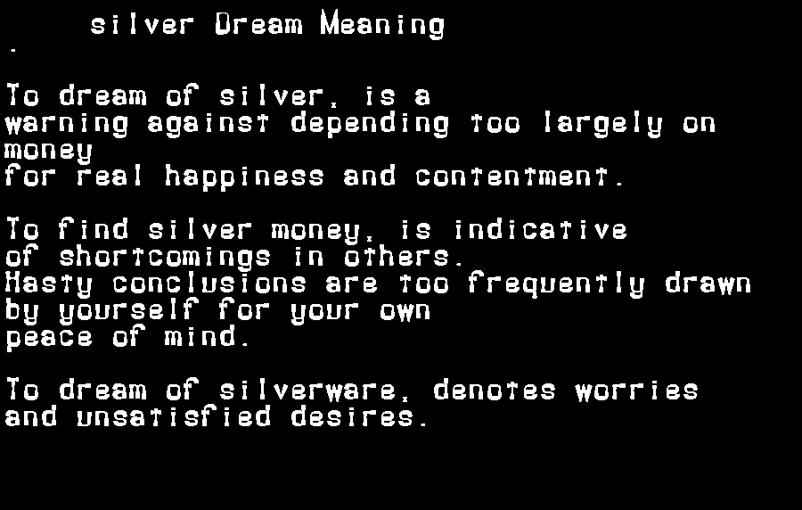 dream meanings silver
