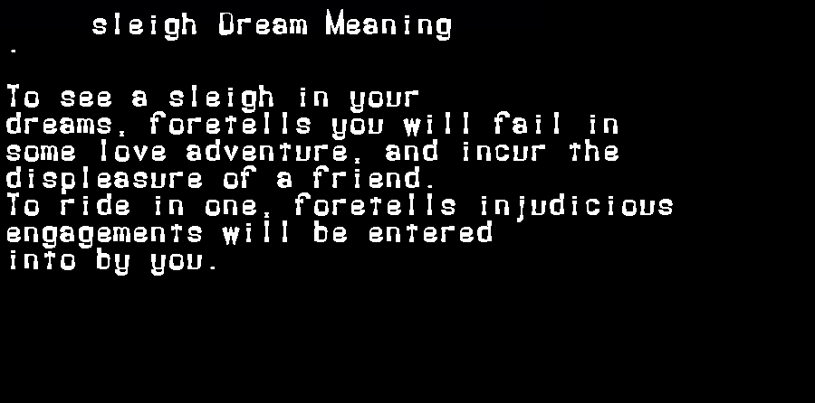 dream meanings sleigh