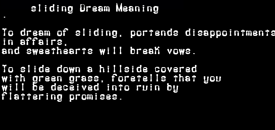 dream meanings sliding