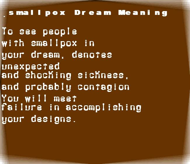 dream meanings smallpox