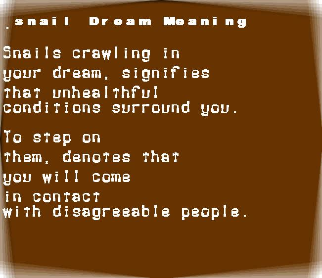 dream meanings snail