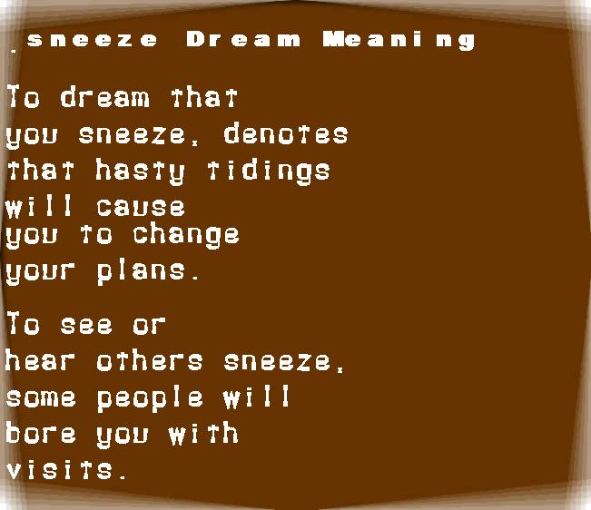 dream meanings sneeze