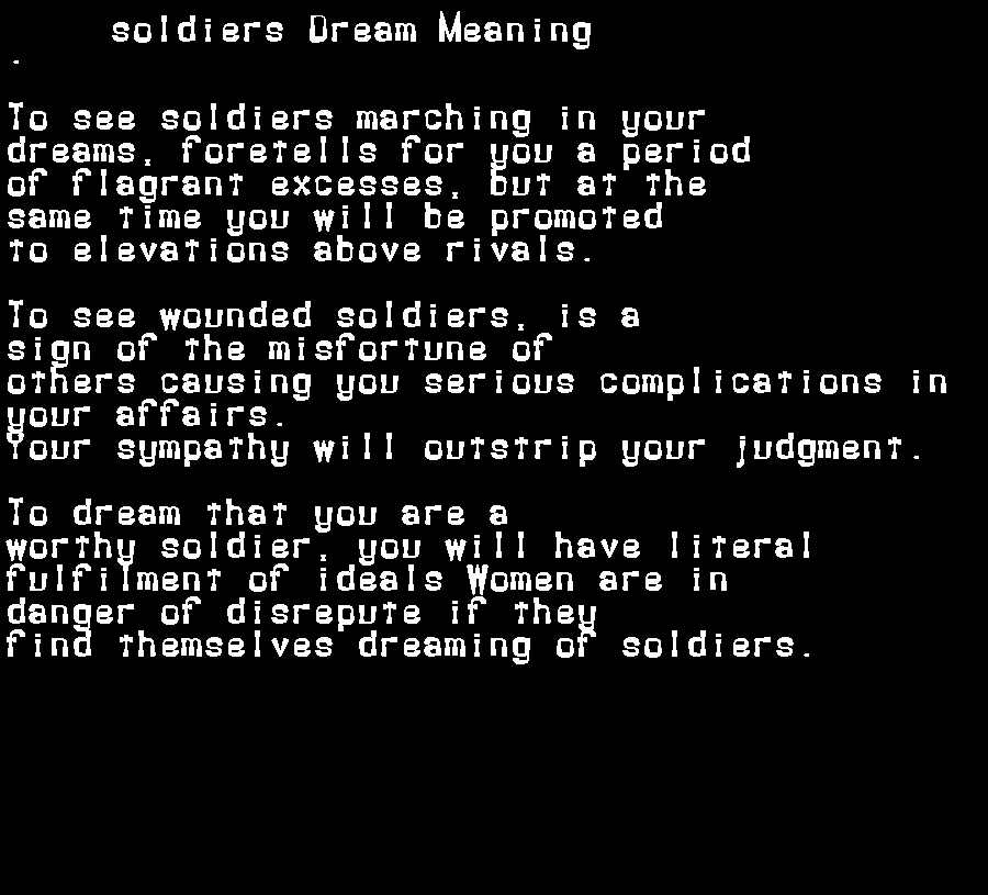 dream meanings soldiers