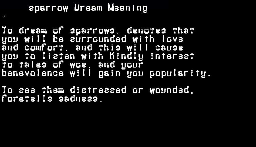 dream meanings sparrow