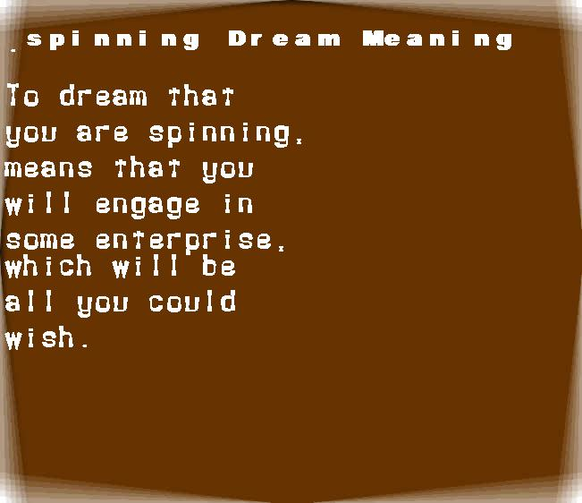 dream meanings spinning