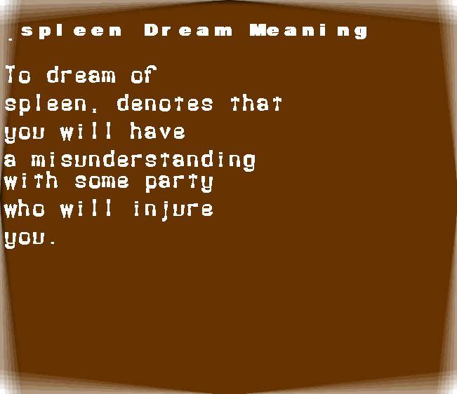 dream meanings spleen