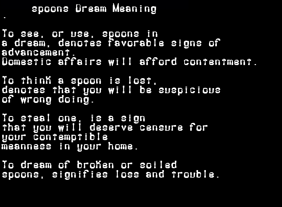 dream meanings spoons