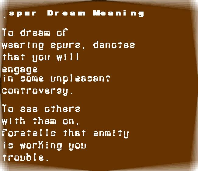 dream meanings spur
