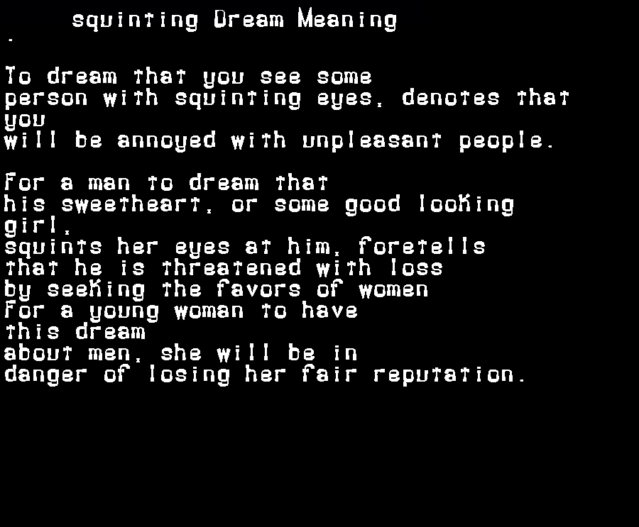 dream meanings squinting